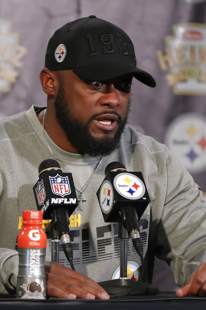 Pittsburgh Steelers head coach Mike Tomlin speaks to reporters during a news conference after an NFL football game against the Buffalo Bills, Sunday, Dec. 15, 2019, in Pittsburgh. Buffalo won 17-10. (AP Photo/Keith Srakocic)