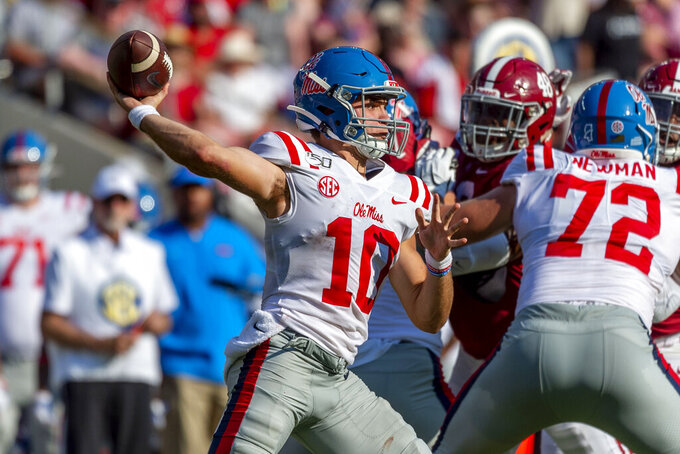Mississippi quarterback John Rhys Plumlee (10) throws against Alabama during the first half of an NCAA college football game, Saturday, Sept. 28, 2019, in Tuscaloosa, Ala. (AP Photo/Vasha Hunt)