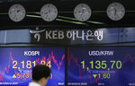 A currency trader walks by the screens showing the Korea Composite Stock Price Index (KOSPI), left, and the foreign exchange rate between U.S. dollar and South Korean won at the foreign exchange dealing room in Seoul, South Korea, Monday, March 18, 2019. Asian shares were mixed Monday as investors continued to watch for signs the U.S. and China could be making progress on critical negotiations aimed at resolving a trade war between the world's two biggest economies. (AP Photo/Lee Jin-man)