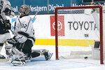 Los Angeles Kings goaltender Jonathan Quick (32) reacts after a goal by San Jose Sharks center Logan Couture during the first period of an NHL hockey game in San Jose, Calif., Monday, March 22, 2021. (AP Photo/Jeff Chiu)