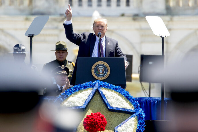 President Donald Trump speaks at the 38th Annual National Peace Officers Memorial Service on the West Lawn of the Capitol Building, Wednesday, May 15, 2019, in Washington. (AP Photo/Andrew Harnik)