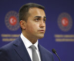Italy's Foreign Minister Luigi Di Maio speaks during a joint news conference with Turkey's Foreign Minister Mevlut Cavusoglu after their talks, in Ankara, Turkey, Friday, June 19, 2020.(Fatih Aktas/Turkish Foreign Ministry via AP, Pool)