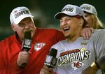 Kansas City Chiefs head coach Andy Reid, left, and quarterback Patrick Mahomes speak during a television interview after defeating the San Francisco 49ers in the NFL Super Bowl 54 football game Sunday, Feb. 2, 2020, in Miami Gardens, Fla. (AP Photo/Mark J. Terrill)