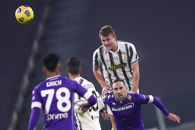 Juventus' Matthijs de Ligt in action during the Serie A soccer match between Juventus and Fiorentina, at the Allianz Stadium in Turin, Italy, Tuesday, Dec. 22, 2020. (Fabio Ferrari/LaPresse via AP)
