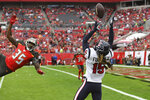 Houston Texans wide receiver Will Fuller (15) can't hang onto a pass after it was tipped by Tampa Bay Buccaneers defensive back Jamel Dean (35) during the first half of an NFL football game Saturday, Dec. 21, 2019, in Tampa, Fla. (AP Photo/Jason Behnken)
