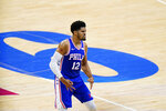 Philadelphia 76ers' Tobias Harris reacts after making a three-pointer during the first half of Game 5 in a first-round NBA basketball playoff series against the Washington Wizards, Wednesday, June 2, 2021, in Philadelphia. (AP Photo/Matt Slocum)