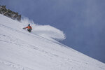 This May 17, 2019 photo provided by the Mammoth Mountain ski area shows a snow boarder making his way downhill in fresh snow at Mammoth Mountain ski area. Late spring wintry weather has brought rain, wind and snow to California, including a dusting of white on mountain peaks east of Los Angeles. (Peter Morning/Mammoth Mountain ski area via AP)