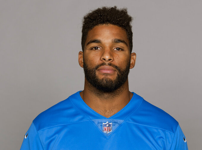 FILE - This June 4, 2018 photo, shows Trevor Bates of the Detroit Lions. Police say Bates was arrested in New York for failing to pay a taxi fare and then punching a police officer in the face in the early hours of Saturday, Jan. 26, 2019. The 25-year-old linebacker was charged with assault, resisting arrest and theft of service after police were called around 3 a.m. Saturday at a hotel near New York's LaGuardia Airport. (AP Photo/File)