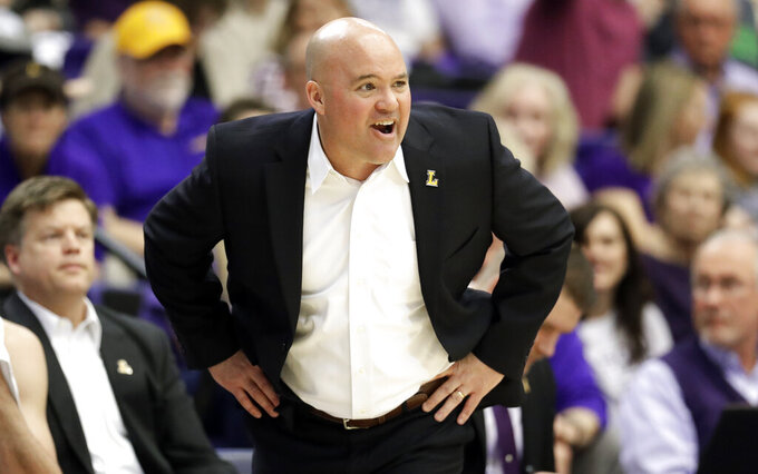 Lipscomb head coach Casey Alexander yells to his players in the first half of the Atlantic Sun NCAA college basketball tournament championship game against Liberty Sunday, March 10, 2019, in Nashville, Tenn. (AP Photo/Mark Humphrey)