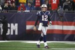 New England Patriots quarterback Tom Brady walks to the sideline after throwing an interception late in the second half of an NFL wild-card playoff football game against the Tennessee Titans, Saturday, Jan. 4, 2020, in Foxborough, Mass. (AP Photo/Elise Amendola)