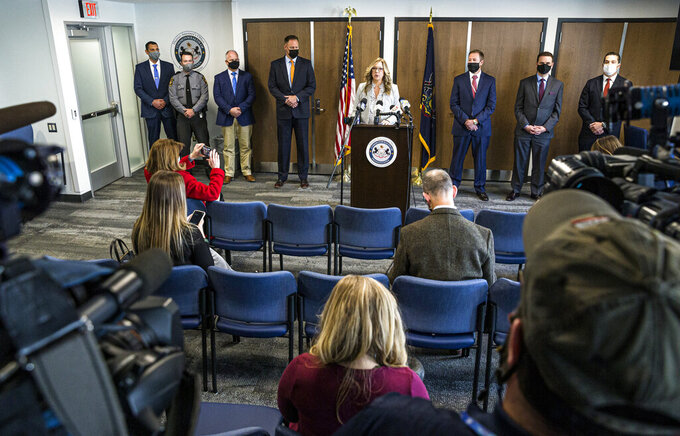 FILE—In this file photo from April 22, 2021, Lancaster County District Attorney Heather Adams talks about the recovery of human remains of Linda Stoltzfoos during a news conference in Lancaster, Pa. Justo Smoker, who led authorities to the remains of the young Amish woman, pleaded guilty on Friday, July 23. 2021, to kidnapping and killing her. (Dan Gleiter/PennLive/The Patriot-News via AP, File)
