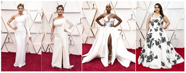 This combination photo shows, from left, Renee Zellweger, Salma Hayek, Cynthia Erivo and Beanie Feldstein at the Oscars on Sunday, Feb. 9, 2020, at the Dolby Theatre in Los Angeles. (AP Photo)