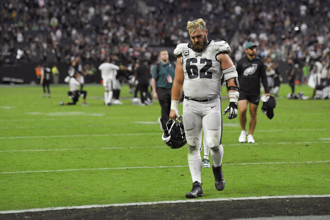 Philadelphia Eagles center Jason Kelce (62) walks off the field after a loss to the Las Vegas Raiders in an NFL football game, Sunday, Oct. 24, 2021, in Las Vegas. (AP Photo/David Becker)