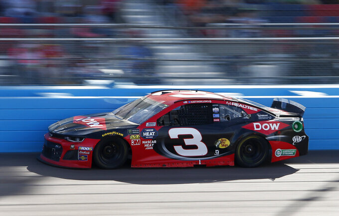 Austin Dillon drives during the NASCAR Cup Series auto race at ISM Raceway, Sunday, March 10, 2019, in Avondale, Ariz. (AP Photo/Ralph Freso)