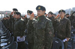 South Korean army soldiers salute during a ceremony to commemorate South Korean soldiers killed in three major clashes with North Korea in the West Sea, in Seoul, South Korea, Friday, March 22, 2019. The South Korean government has designated the fourth Friday of March as the commemoration day for the fallen soldiers in the clashes, including the North's torpedoing of the South Korean Navy corvette Cheonan in 2010, which killed 46 sailors. (AP Photo/Ahn Young-joon)
