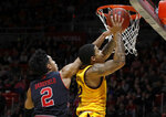 Arizona State's Rob Edwards, right, attempts a layup as Utah's Sedrick Barefield defends during the first half of an NCAA college basketball game Saturday, Feb. 16, 2019, in Salt Lake City. (AP Photo/Kim Raff)
