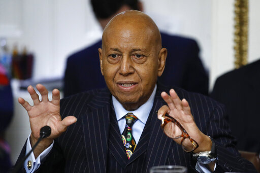 FILE - In this Dec. 17, 2019 file photo, Rep. Alcee Hastings, D-Fla., speaks during a House Rules Committee hearing on the impeachment against President Donald Trump on Capitol Hill in Washington.  Hastings, the longtime Congressman from Florida has died after a two-year fight with pancreatic cancer.  The Palm Beach County Democrat died Tuesday, April 6, 2021, according to his chief of staff, Lale M. Morrison. (AP Photo/Patrick Semansky, File)