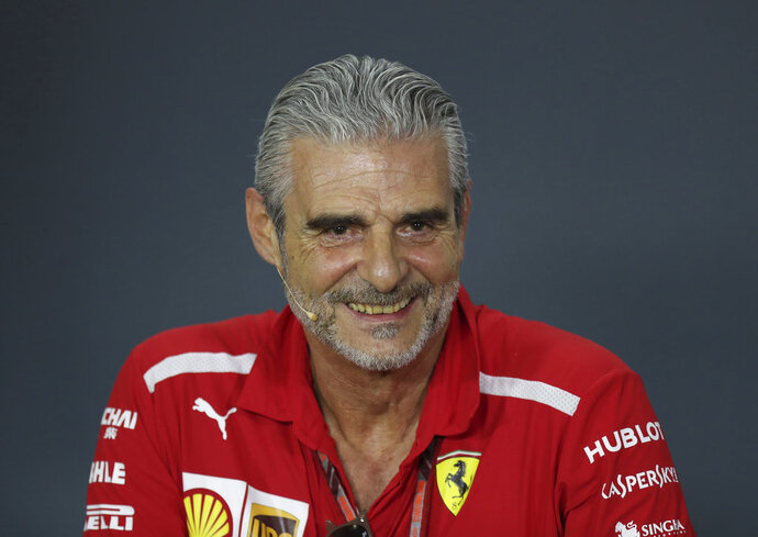 Ferrari team principal Maurizio Arrivabene speaks during a press conference at the Marina Bay City Circuit ahead of the Singapore Formula One Grand Prix in Singapore, Friday, Sept. 14, 2018. (AP Photo/Yong Teck Lim)