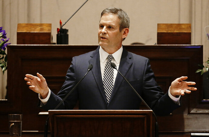 FILE - In this March 4, 2019 file photo, Tennessee Gov. Bill Lee delivers his first State of the State Address in Nashville, Tenn. Lee and Senate Speaker Randy McNally made the assertion about the state's Medicaid program, TennCare, and another insurance initiative, CoverKids, in letters in May 2019 in response to criticism from Chattanooga Mayor Andy Berke. (AP Photo/Mark Humphrey, File)