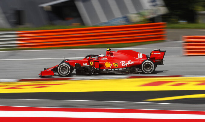 Ferrari driver Charles Leclerc of Monaco steers his car during the Styrian Formula One Grand Prix at the Red Bull Ring racetrack in Spielberg, Austria, Sunday, July 12, 2020. (AP Photo/Darko Bandic, Pool)