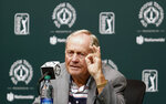 "FILE - This May 30, 2017, file photo, shows Jack Nicklaus answering questions during a news conference a few days before the start of the Memorial golf tournament in Dublin, Ohio. The challenge for the PGA Tour is to make it feel different to the players who will be in Dublin, Ohio, the next two weeks. For the first time in 63 years, two PGA Tour events are being held on the same golf course in consecutive weeks. ""I think this week we're going to have to be a little bit cautious with the golf course, certainly out of respect to Mr. Nicklaus and the Memorial Tournament being next week,"" said Gary Young, the PGA Tour rules official overseeing the Workday Charity Open.(AP Photo/Jay LaPrete, File)"