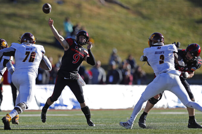 San Diego State quarterback Ryan Agnew (9) throws against Central Michigan during the second half of the New Mexico Bowl NCAA college football game on Saturday, Dec. 21, 2019 in Albuquerque, N.M. (AP Photo/Andres Leighton)