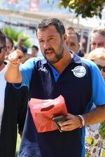 """Italian Deputy Prime Minister and Interior Minister, Matteo Salvini gestures during a political rally part of his 'Italian summer tour', in Taormina, Southern Italy, Sunday, Aug. 11, 2019. Italy on Friday edged closer to holding an election as early as this fall that could move the country farther to the right, with anti-migrant Deputy Premier Matteo Salvini already unofficially campaigning for the premiership and declaring it makes """"no sense"""" to keep alive the feuding populist coalition government. (Carmelo imbesi/ANSA via AP)"""