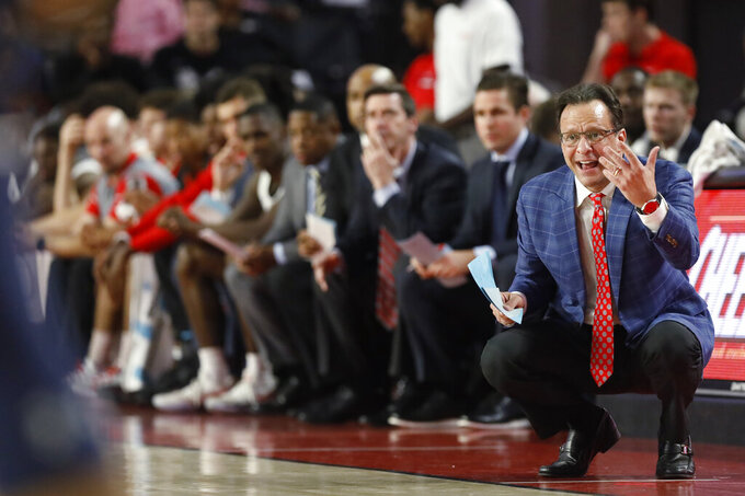 Georgia coach Tom Crean in the first half of an NCAA college basketball game Wednesday, Feb. 27, 2019, in Athens, Ga. (Joshua L. Jones/Athens Banner-Herald via AP)