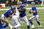 New York Giants quarterback Colt McCoy (12) looks to throw during the second half of NFL football game against the Cincinnati Bengals, Sunday, Nov. 29, 2020, in Cincinnati. (AP Photo/Aaron Doster)