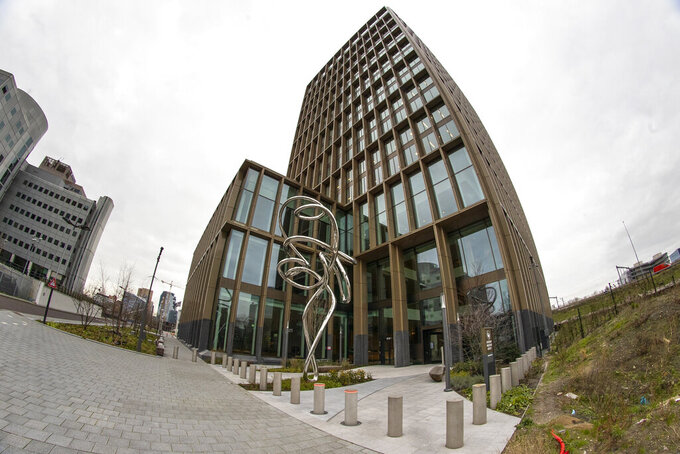 Exterior view of the European Medicines Agency in Amsterdam, Netherlands, Wednesday, Jan. 6, 2021. The European Union's medicines agency gave the green light Wednesday to Moderna Inc.'s COVID-19 vaccine, a decision that gives the 27-nation bloc a second vaccine to use in the desperate battle to tame the virus rampaging across the continent. (AP Photo/Peter Dejong)
