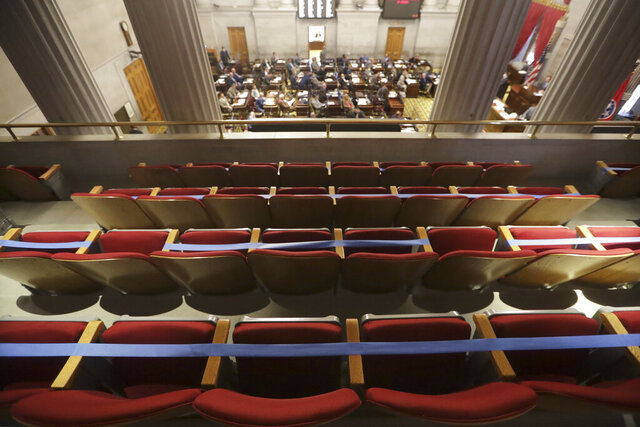 Seats in the gallery overlooking the House chamber are marked off due to the coronavirus pandemic during a House session Tuesday, June 9, 2020, in Nashville, Tenn. (AP Photo/Mark Humphrey)