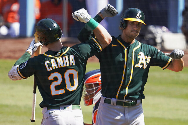 Oakland Athletics' Matt Olson, right, is congratulated by Mark Canha after hitting a solo home run against the Houston Astros during the fourth inning of Game 3 of a baseball American League Division Series in Los Angeles, Wednesday, Oct. 7, 2020. (AP Photo/Marcio Jose Sanchez)