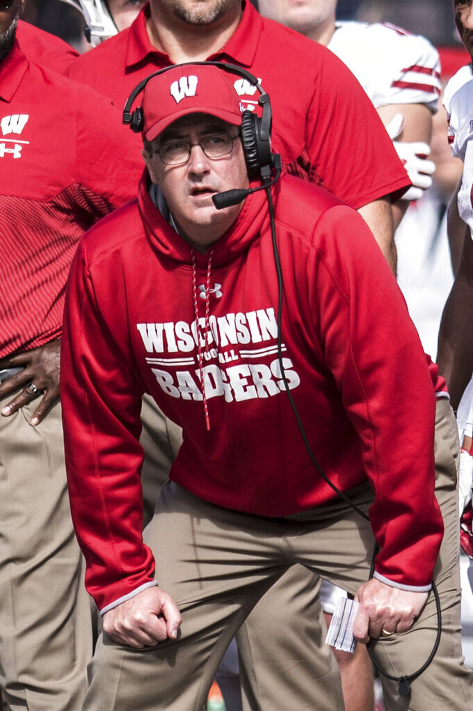 Wisconsin head coach Paul Chryst watches during the second half of an NCAA college football game against Illinois, Saturday, Oct. 19, 2019, in Champaign, Ill. (AP Photo/Holly Hart)