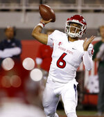 Fresno State Bulldogs quarterback Marcus McMaryion passes against the UNLV Rebels during the first half of an NCAA college football game Saturday, Nov. 3, 2018, in Las Vegas. (AP Photo/John Locher)