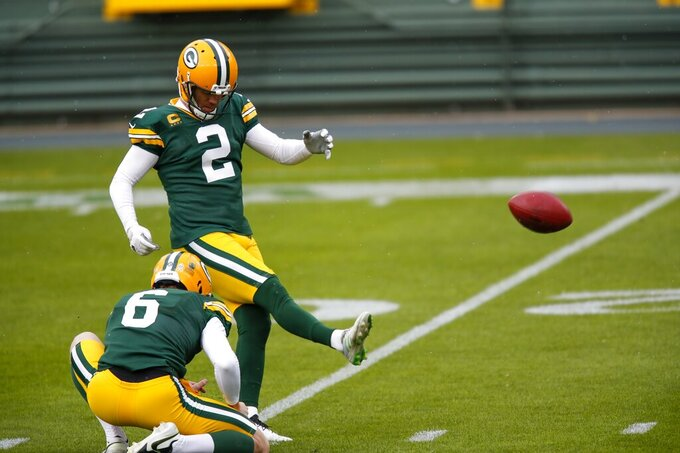 Green Bay Packers' Mason Crosby warms up before an NFL football game against the Minnesota Vikings Sunday, Nov. 1, 2020, in Green Bay, Wis. (AP Photo/Matt Ludtke)