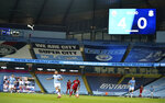 Scoreboard shows the final score during the English Premier League soccer match between Manchester City and Liverpool at Etihad Stadium in Manchester, England, Thursday, July 2, 2020. (AP Photo/Dave Thompson,Pool)