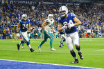 Indianapolis Colts tight end Jack Doyle (84) runs in for a touchdown after a catch against the Miami Dolphins during the second half of an NFL football game in Indianapolis, Sunday, Nov. 10, 2019. (AP Photo/AJ Mast)
