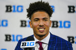 Indiana wide receiver Ty Fryfogle talks to reporters during an NCAA college football news conference at the Big Ten Conference media days, at Lucas Oil Stadium in Indianapolis, Friday, July 23, 2021. (AP Photo/Michael Conroy)