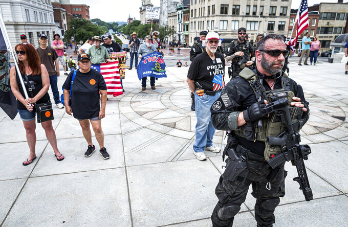 """The annual """"Rally to Protect Your Right to Keep and Bear Arms"""" is held at the state Capitol in Harrisburg, Pa., Monday, June 7, 2021. (Dan Gleiter/The Patriot-News via AP)"""