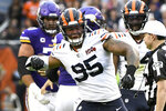 Chicago Bears defensive end Roy Robertson-Harris celebrates after sacking Minnesota Vikings quarterback Kirk Cousins during the second half of an NFL football game Sunday, Sept. 29, 2019, in Chicago. (AP Photo/Matt Marton)
