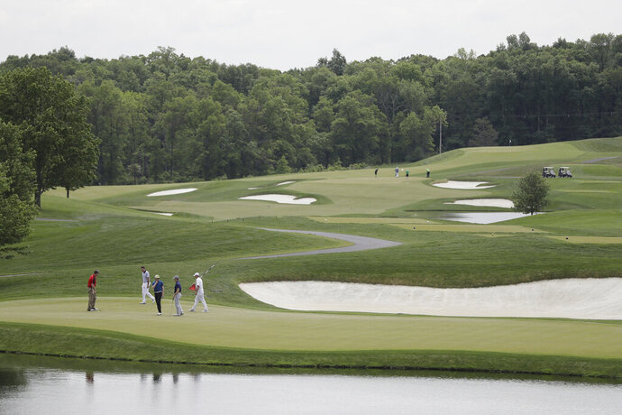 FILE - This May 24, 2017, file photo, shows a general view of Trump National Golf Club in Bedminster, N.J. The man charged with breaking into singer Taylor Swift's Rhode Island mansion is accused of causing more than $20,000 damage to President Donald Trump's New Jersey golf course. (AP Photo/Julio Cortez, File)