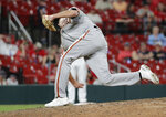 San Francisco Giants relief pitcher Tyler Rogers delivers a submarine pitch in the ninth inning of a baseball game against the St. Louis Cardinals, Friday, July 16, 2021, in St. Louis. (AP Photo/Tom Gannam)