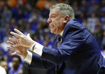 Auburn head coach Bruce Pearl reacts to a call in the second half of an NCAA college basketball game against Florida at the Southeastern Conference tournament Saturday, March 16, 2019, in Nashville, Tenn. Auburn won 65-62. (AP Photo/Mark Humphrey)