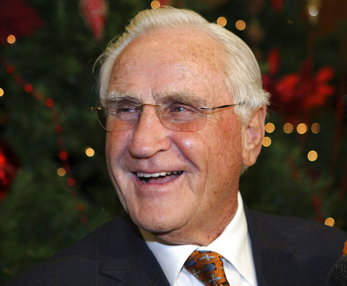 FILE - In this Jan. 2, 2010, file photo, former Miami Dolphins head coach Don Shula smiles during his 80th birthday party at Land Shark Stadium in Miami. Shula, who won the most games of any NFL coach and led the Miami Dolphins to the only perfect season in league history, died Monday, May 4, 2020, at his South Florida home, the team said. He was 90.  (AP Photo/Jeffrey M. Boan, File)