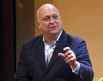 FILE - In this March 6, 2019, file photo, Cal Ripken Jr. speaks to the audience while taking part in the Great Conversation Series at St. John's College in Annapolis, Md. It has been 25 years since Ripken broke Lou Gehrig's major league record for consecutive games played, a feat the Baltimore Orioles star punctuated with an unforgettable lap around Camden Yards in the middle of his 2,131st successive start. (Paul W. Gillespie/The Baltimore Sun via AP, File)