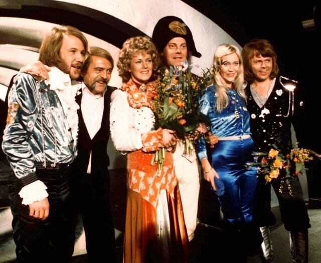 FILE - In this April 6, 1974 file photo, members of Swedish group ABBA and close associates celebrate the victory of their song