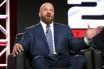 "FILE - In this Jan. 9, 2018, file photo, Paul ""Triple H"" Levesque participates in the ""WWE Monday Night Raw: 25th Anniversary"" panel during the NBCUniversal Television Critics Association Winter Press Tour in Pasadena, Calif. While real sports have shut down in the wake of the coronavirus pandemic, WWE has pressed on and is set to run this weekend its first WrestleMania in an empty arena. ""We just feel like it is the right time,"" WWE executive Levesque said. (Photo by Willy Sanjuan/Invision/AP)"