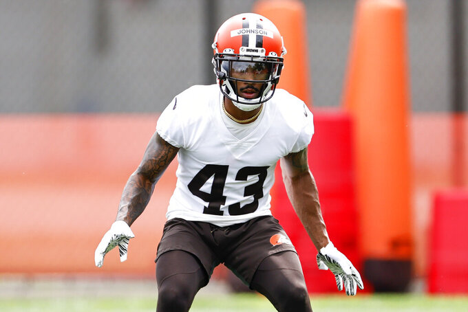 Cleveland Browns defensive back John Johnson III runs through a drill during NFL football practice at the team's training facility, Wednesday, June 9, 2021, in Berea, Ohio. (AP Photo/Ron Schwane)