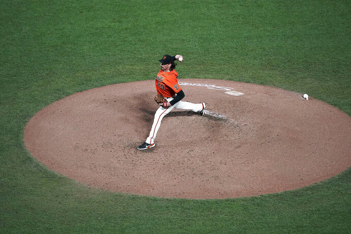 San Francisco Giants pitcher Jeff Samardzija throws to a San Diego Padres batter during the second inning of the second game of a baseball doubleheader Friday, Sept. 25, 2020, in San Francisco. (AP Photo/Tony Avelar)