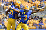 Pitt defensive lineman Patrick Jones II and defensive back Damar Hamlin celebrate a stop in the fourth quarter of an NCAA college football game against Delaware Saturday, Sept. 28 2019, at Heinz Field in Pittsburgh. (Matt Freed/Pittsburgh Post-Gazette via AP)